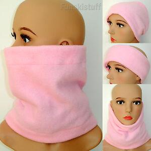 NECK WARMER face mask LIGHT PALE PINK fleece scarf snood ski school Ladies Girls