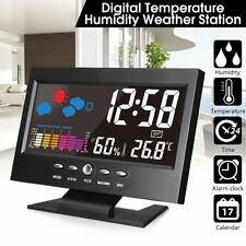 Projection Digital Alarm Clock Snooze Weather Thermometer LCD Color Display LED
