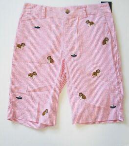 Ralph Lauren Boys Slim Stretch Embroidered Seersucker Shorts White/Pink Sz 14