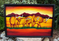 African Animals Wood Carved Painting Wall Plaque picture Rhino Water Buffalo 25""