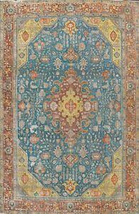 Vintage Geometric Tebriz Hand-knotted Area Rug Wool Oriental Large Carpet 10x13