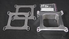 CARBURETOR SPACER 2 INCH POLISHED ALUMINIUM SQUARE BORE 1 HOLE HOLLEY-AFB