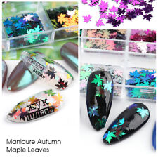 12 Grids/Set nail supplies maple leaf holographic glitter sequines decals