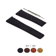 22/24mm Leather Watch Band Strap Fits Tag Heuer Spacex Carrera Monaco CAM2+ Tool