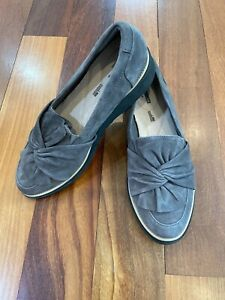 NEW Clarks Suede Slip On Gray Loafer Shoe Sharon Dasher Women's Size 10