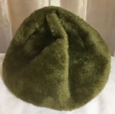 "Women's Hat Vintage OLIVE GREEN 21"" Marche Italy Beret Cap Winter Faux Fur Small"