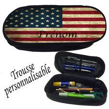 Trousse à crayons DRAPEAU AMERICAIN personnalisée avec prénom V1