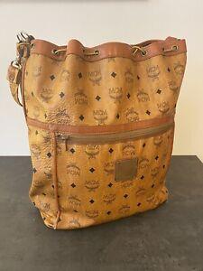 Vintage MCM Oversized Leather Bucket Shoulder Drawstring Bag Cognac Handbag