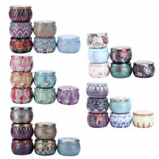 6 Round Candle Tin Metal Wax Case Jewelry Container Storage Jar Boxes w/Lid 4 oz