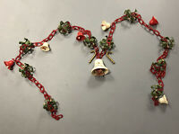 """Vintage Christmas Chain Garland Red White Bells Holly Gold Candy Canes 90"""" Long"""