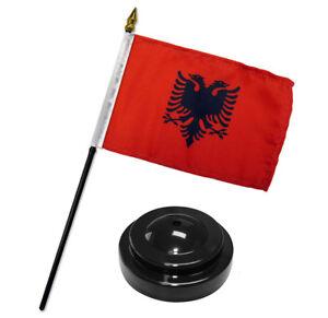 "Albania 4""x6"" Flag Desk Set Table Stick Black Base"