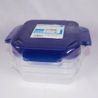 Room Essentials Food Storage Container Set of 3 Blue 4 Way Snap On New