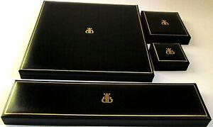 Quality Black Leatherette Jewellery Gift Box-Necklace-Ring-Bracelet-Postable-B&B