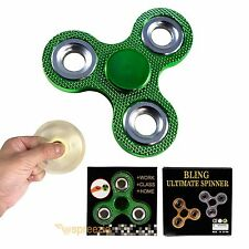 Green Fidget Spinner Hand Toy BLING Stress Relief Focus Metallic ADHD Anxiety