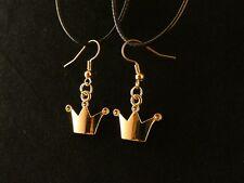 Krone Ohrringe 24 Karat Vergoldet Crown Princess Prinz König Charm Gold Hänger