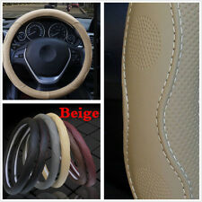 Universal Car Auto Steering Wheel Cover 15''/38cm Beige PU Leather All Seasons