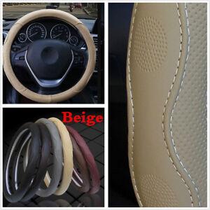 Universal Car Auto Steering Wheel Cover 15''/38cm Beige PU Leather All Seasons