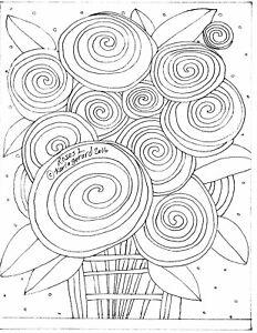 RUG HOOKING CRAFT PAPER PATTERN Roses 1 ABSTRACT Prim FOLK ART Karla Gerard