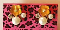 Betsey Johnson Crystal Rhinestone Enamel Pearl Flower Post Earrings