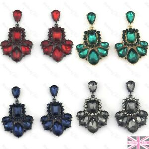 6cm big GLASS CRYSTAL chandelier SPARKLY EARRINGS vintage style RED/BLUE/GREEN
