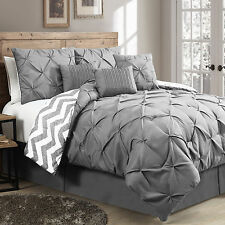 Grey Germain 7 Piece Reversible Luxury Bed Bedding King Size Comforter Sets