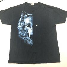 Vintage Wolf T Shirt Black Short Sleeve Tee Werewolf Size Xl Dog