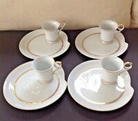 VTG. Renaissance White & Gold Luncheon/ Snack Plate & Cup - Set of 4 - GORGEOUS!