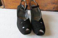 1940's Vintage Black Suede Peep-Toe High Heels -Buckle Closure Size 8Aaa