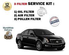 FOR CADILLAC CTS 3.6i V6 VVT 2008-> SERVICE KIT OIL AIR POLLEN ( 3 ) FILTER SET