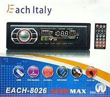 STEREO AUTO AUTORADIO AUX MP3 SLOT USB SD RADIO FM CAMPER BARCA EACH-8026
