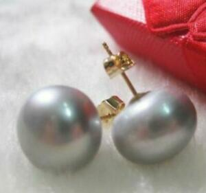 Gorgeous AAA 9-10mm South Sea Gray Stud Pearl Earrings 14k Yellow Gold