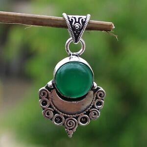 925 Sterling Silver Plated Green Onyx Handmade Pendant Jewelry DP20-122