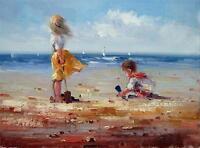 jouer à la plage 30 x 41cm étiré peinture huile toile art décoration mura143