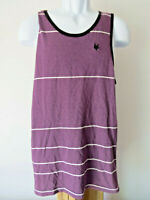 ZOO YORK Men's Purple White TANK TOP M TEE Sleeveless Striped Shirt fits like S