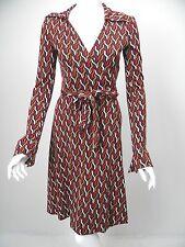 DIANE VON FURSTENBERG Julie Red/Maroon/Beige/White Silk Jersey Wrap Dress sz 2