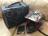 Troy Lee Designs (TLD) D2 Adult Helmet Gray Red with Bag Case XL/XXL Motorcycle