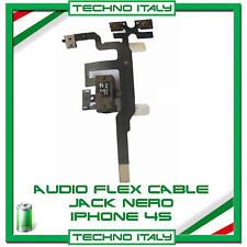 CONNETTORE AUDIO JACK TASTO VOLUME CABLE FLAT FLEX CUFFIE PER IPHONE 4S NERO NEW
