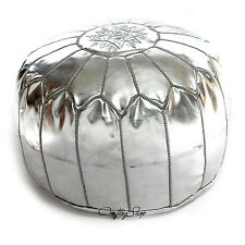 Sale!Handmade Moroccan Ski Leather Pouf Stuffed Ottoman Silver Pouf