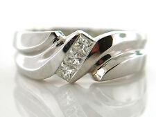 0.51 CT Men's Natural Princess Cut Diamond Wedding Band VS/G 14K White Gold