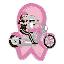 Breast Cancer Awareness Pink Ribbon Biker Motorcycle Lady Lapel Pin Tac New