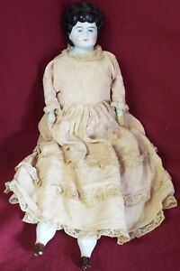 """EARLY Antique 15"""" German CHINA HEAD DOLL Cloth Body Bisque Hand China Feet"""