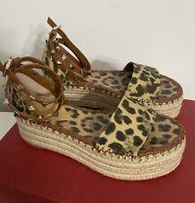 VALENTINO GARAVANI Rockstud leopard-print flatform espadrille sandals Size -37
