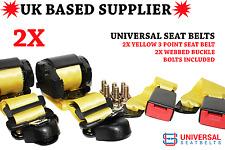 2x Universal Yellow 3 Point Seat Belts 3.5m Length & 30cm Web Buckles E4 VAT Inc