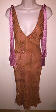 Lena Medoyeff Women's XS Handmade Beaded Dress 100% Silk Sleeveless