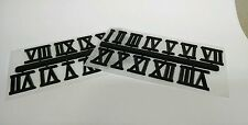 "3/4"" Black Roman Clock Numbers New 2 Sets Easy snap off & self stick Usa made"
