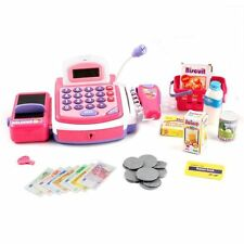 Educational Kids B/O Electronic Cash Register Pink Toy Pretend Play With Sound