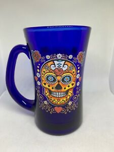 DAY OF THE DEAD SUGAR SKULL Coffee/Tea Mug Cup Glass 12oz BRAND NEW!