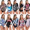Women Long Sleeve UV Sun Protection UPF 50+ Rash Guard Two Piece Swimsuit Bikini