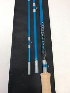 Custom Built 3pc 8'-5wt fiberglass fly rod with feather inlays.