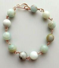 Amazonite gemstone bead bracelet .. copper UK handmade beautiful jewellery